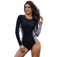 2019 One Piece Swimsuit Sports Swimsuit Women Front Zipper Swimsuit Pushes Monokini Long Sleeved Bodysuit