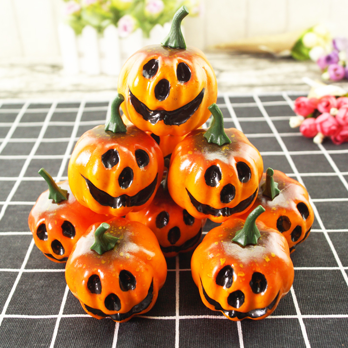 12 pcs simulation artificial lifelike small foam pumpkins carved