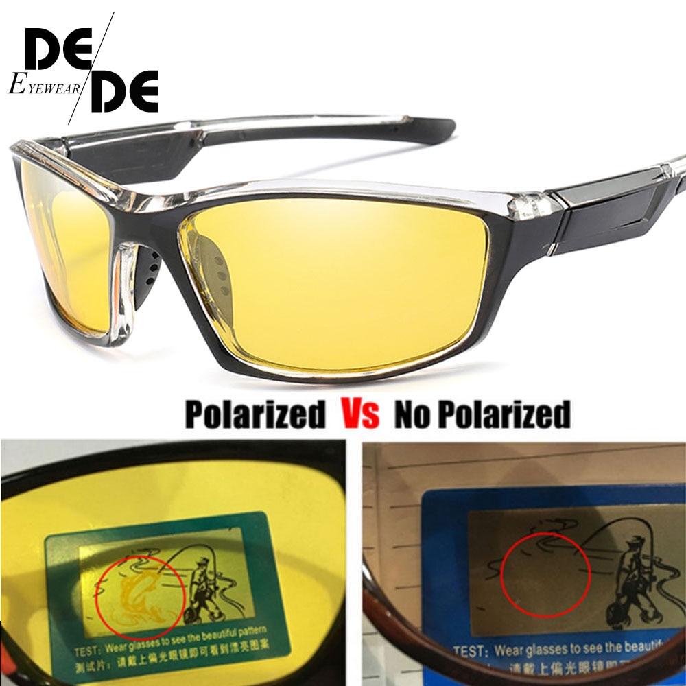 Polarized Night Vision Sunglasses Men Square Sport Driving Sun Glasses For Mirror Luxury Brand Designer