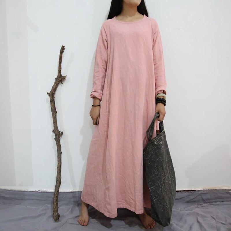 Johnature Women Vintage Dress Linen Long Sleeve 2019 Fall Winter New Warm Thick 4 Colour Brief