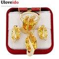 Uloveido Oro Plateado Joyería de la Boda Cristal Cz Diamond Establece Amarillo Grande Bague Anillo Colgante Pendientes Anillos Y183