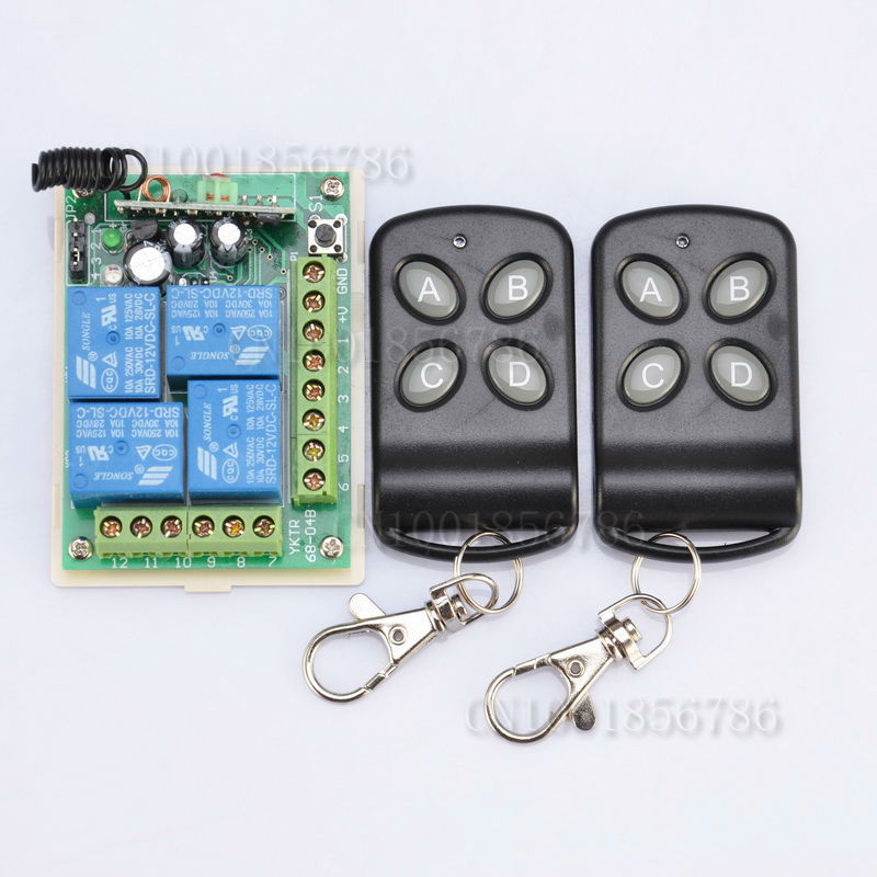 DC12V 10A 4 Channel RF Wireless Remote Control Relay Switch/Radio System Receiver&Transmitter dc12v 4ch relay 10a rf wireless remote control switch system 1 receiver