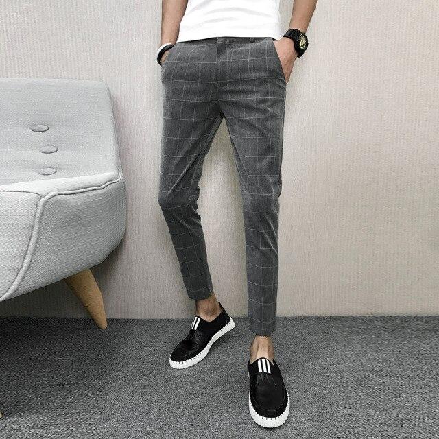 Classic Plaid Men Pants Fashion Korean All Match Streetwear Pants Mens Casual Slim Fit Thin Comfortable Harem Pant Men Trousers
