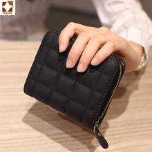 Fashion Wallet Women Leather Short PU Female Plaid small Purses Card Holder Woman Mini Small Zipper Wallet  Clutch  Coin Purse