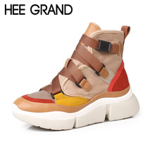 GRAND New Women Fashion Boots with Buckle Winter Shoes PU Leather Ankle Boots Mujer Shoes