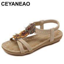 4630d18ce41f CEYANEAO Woman Sandals Bead Bohemian ClipToe Comfortable Thong Shoes Boho  ElasticBand Back Strap Flat Beach Shoes PlusSize35-40