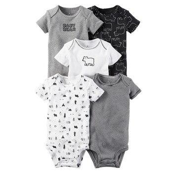 e8964c5133 5 unids lote nuevo nacido mamelucos de bebé Unisex de alta calidad 100%  algodón