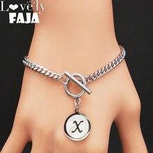 2019 Punk Letter X Shell Stainless Steel Bracelet Women Silver Color Bracelets Bangles Jewelry pulseras mujer moda B18408
