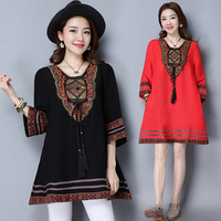 New Design India Pakistan Clothing Summer National Style Vintage Women Bohemia Printing One Piece Dress Indian