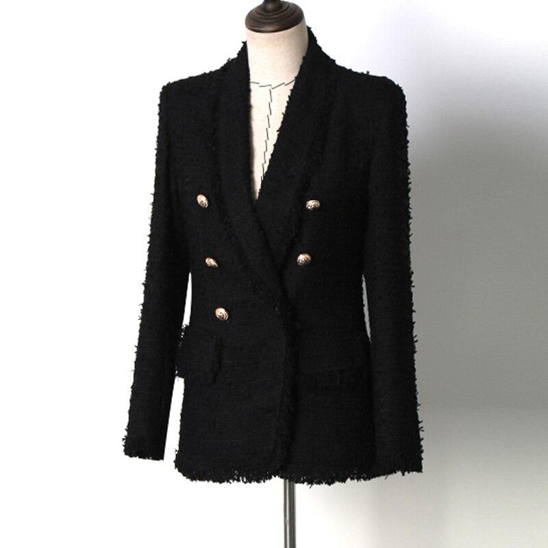 Black tweed jacket Double breasted Spring Autumn women s jacket new fashion lapel elegant ladies jacket