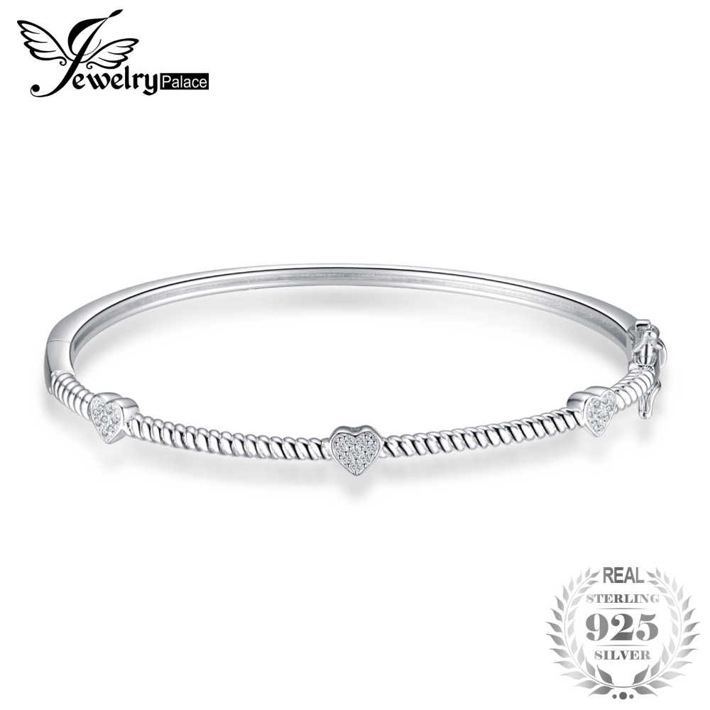JewelryPalace Rope Design Cubic Zirconia Love Heart Bangle Bracelets S925 Sterling Silver Romantic Jewelry Accessories