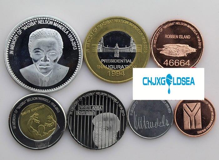 7 قطعة ليو دونجدا ريدوندا جزيرة عملة تذكارية مانديلا عملة الأصلي عملة لا عممت-في عملات معدنية غير رسمية من المنزل والحديقة على  مجموعة 1