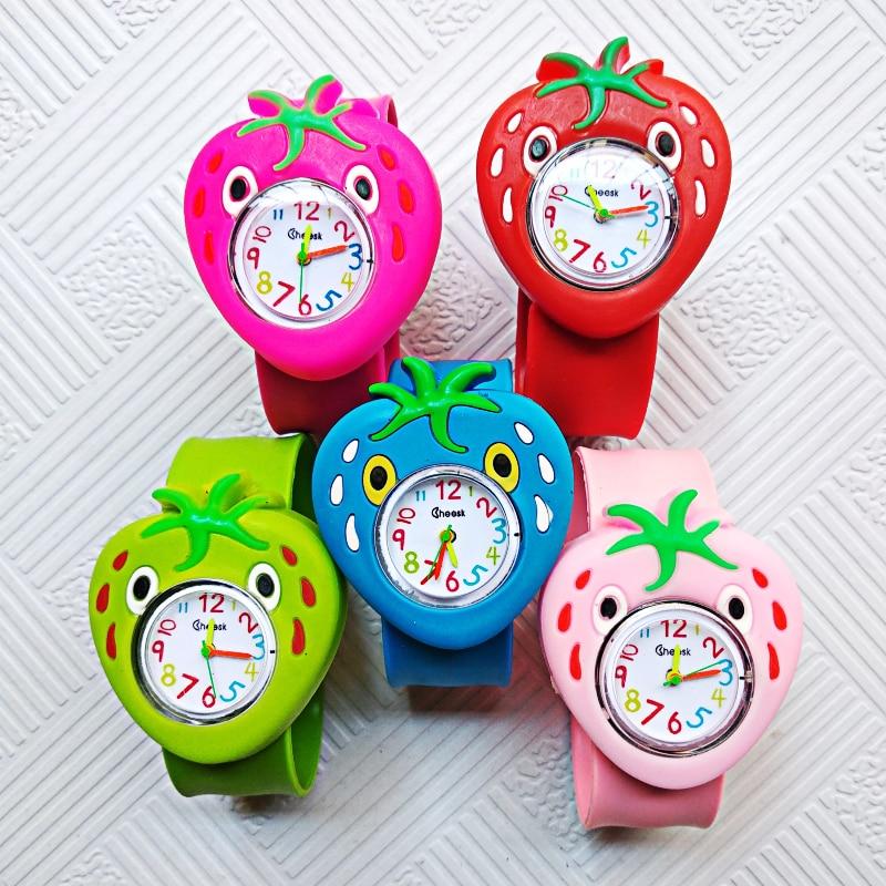 Children's Watch Cartoon Strawberry Kids Watches Child Baby Watch Tape Pat Table Clock Quartz Watch Girls Boys Gift Reloj Mujer