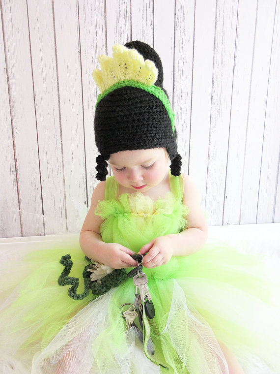 free shipping. BABY GIRLS Princess Tiana Crochet Hat , Princess and the Frog Crochet Hat , children's Tiana Costume