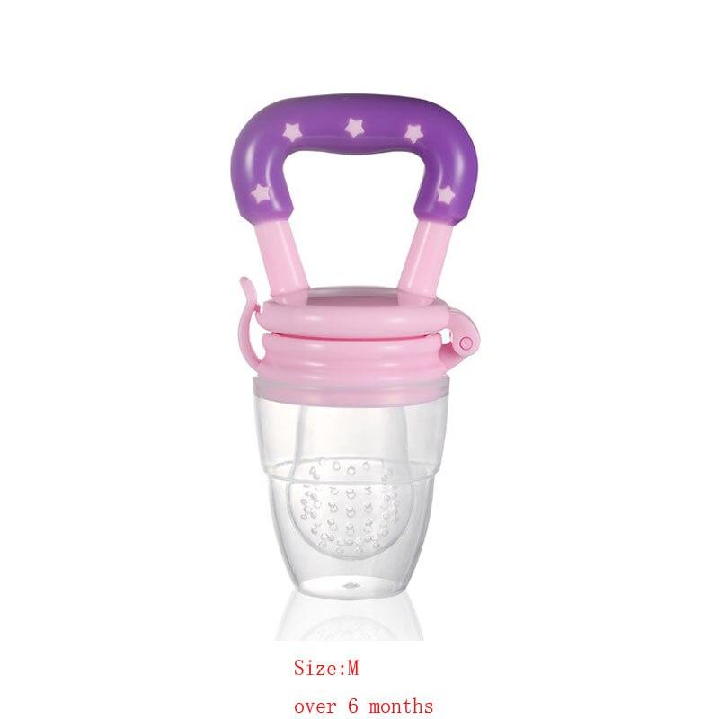 Силиконовый детский успокоитель младенцев Соска-пустышка детские соски Фидер для еда, фрукты пустышки для младенцев для кормления с соской - Цвет: Pink M