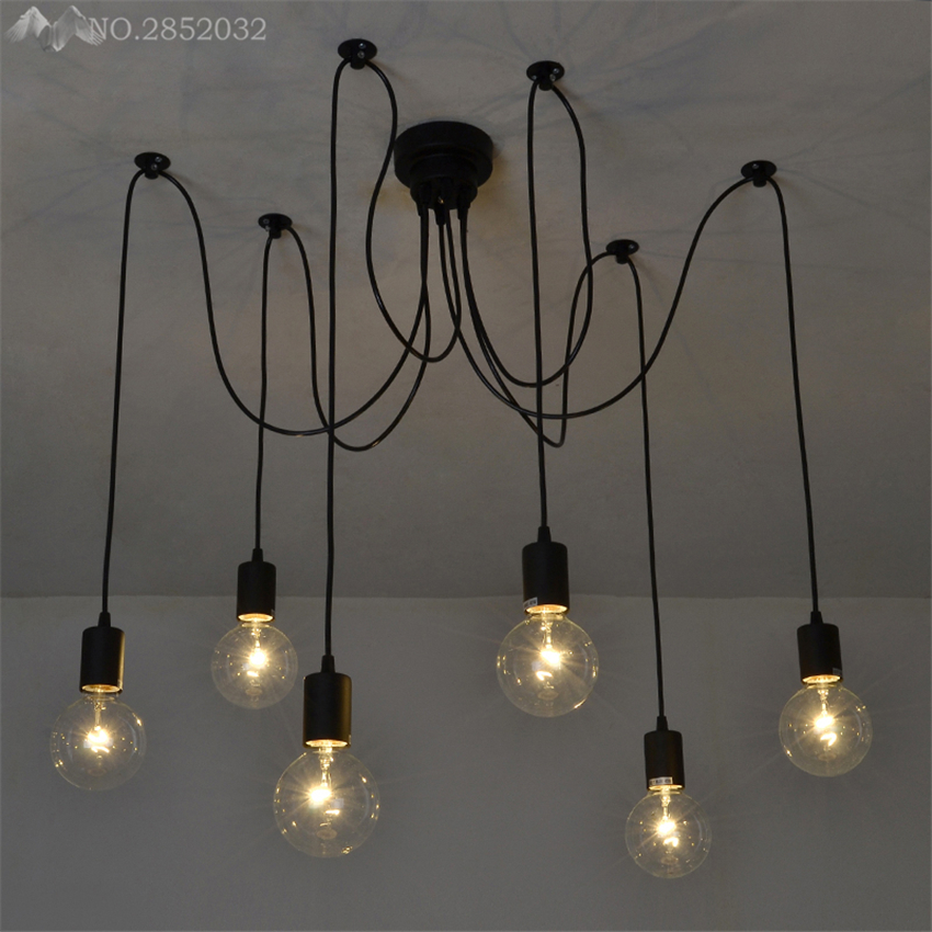 Nordic Spider Vintage Pendant Lamp Multiple Adjustable Retro Pendant Lights Loft Classic Decorative Fixture Lighting Led Home|pendant lamp|pendant light loftlight loft -