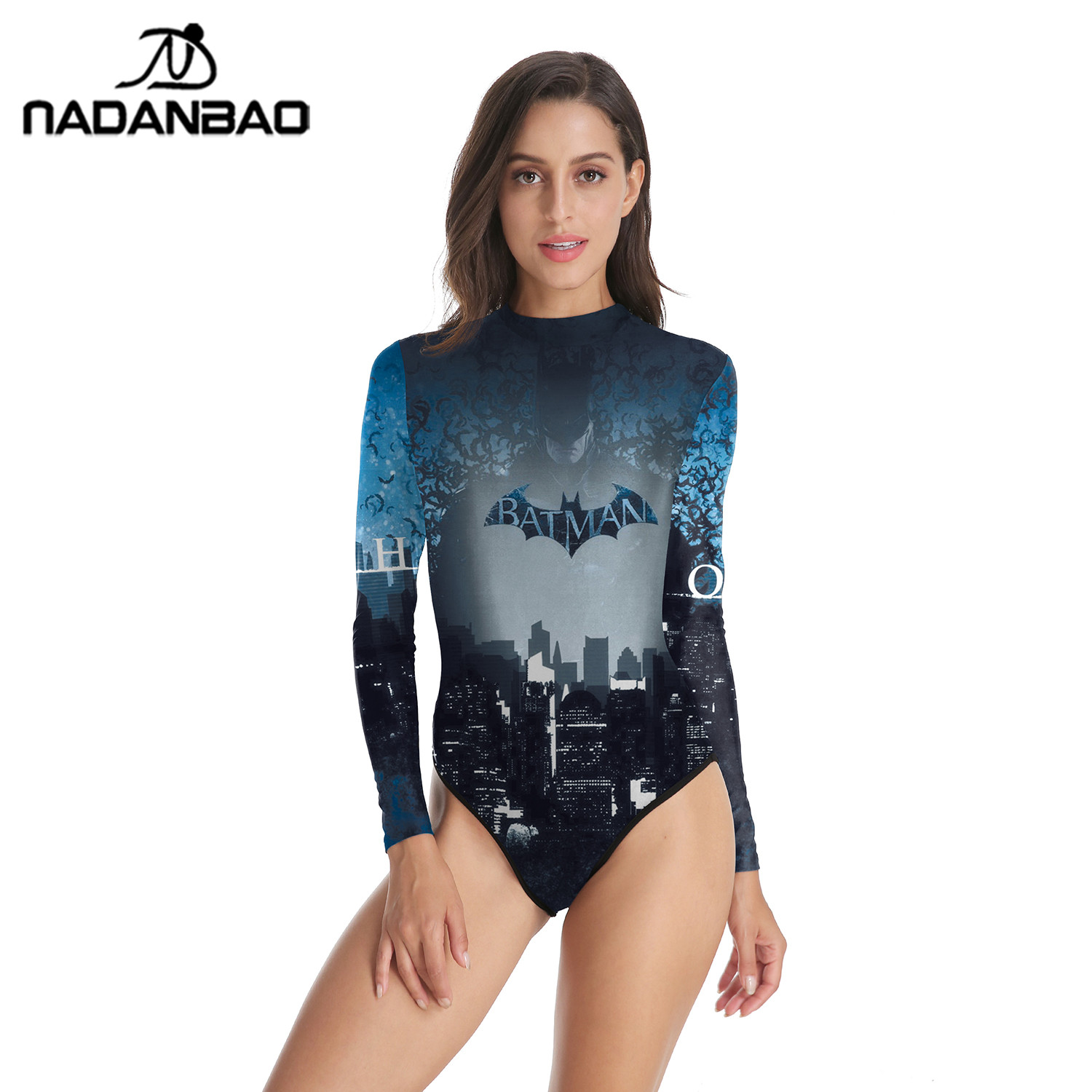 68328867f0cfc0 Hot Style Surfing Bathing Suit Batman Printed Women Swimwear Loog Sleeve  Swimsuit Zippered One Piece Swimsuit