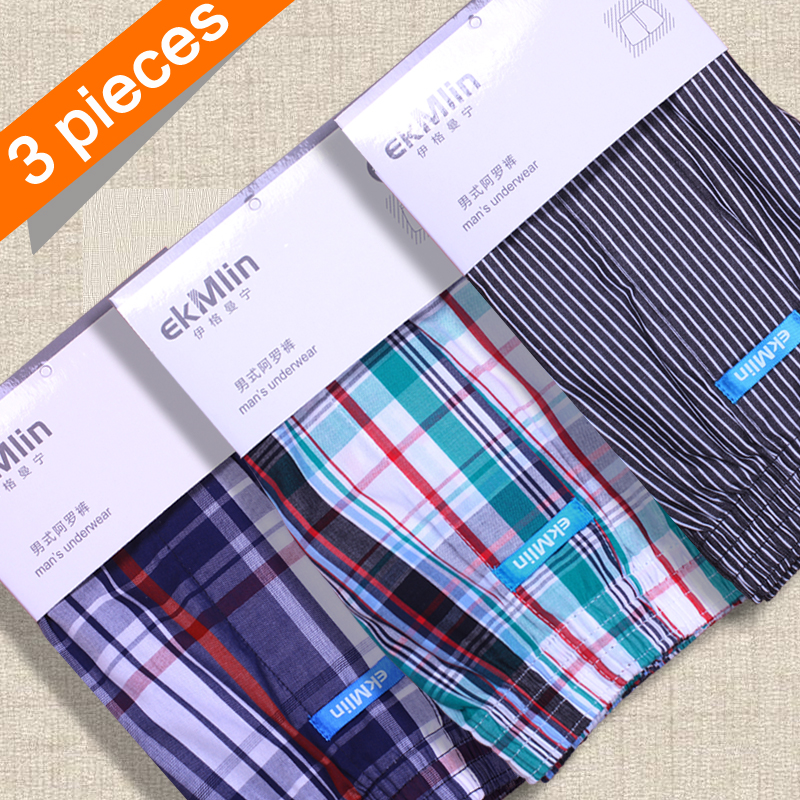 ekMlin 3-Pack Men's Boxers Shorts UnderWear Striped Plaid 50s Combed yarn 100% Woven Cotton N