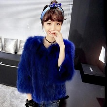 Super Fashion New Finland Fox Fur Coat Luxury Womens Three-Quarter Fur Vest Jackets Ladies Winter Clothing Blue Color Coat