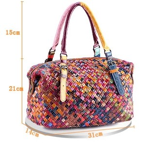 Women Handmade Bags Handbag Colorful Patchwork Genuine Leather Woven Bag Knitted Real Leather Tote Bag