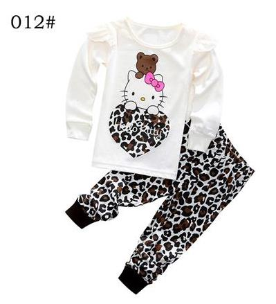 Children Hello Kitty Warm Cotton   Pajamas     Sets   Baby Girls Boys Anna Elsa Pyjamas Pants 2pcs Homewear Kids Tracksuit Clothing Suit