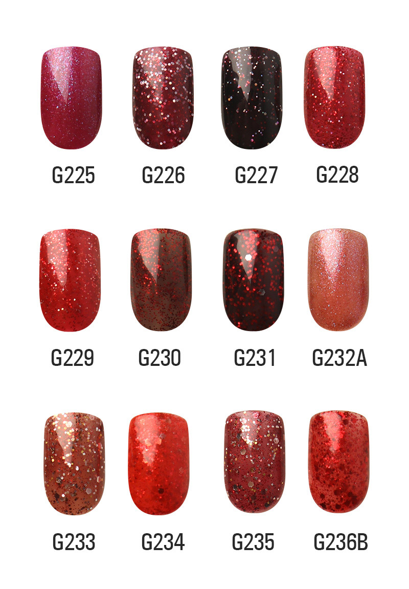 Red Diamond Hybrid Gel Nail Polish High Quality Long-lasting Soak Off  LED Manicure Beauty DIY Nail Art Tools 12 Colors Available 10ml 1