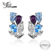 Jewelrypalace multicolor 2.5ct genuino amatista topacio azul pendiente de clip en los pendientes de plata de ley 925 para las mujeres