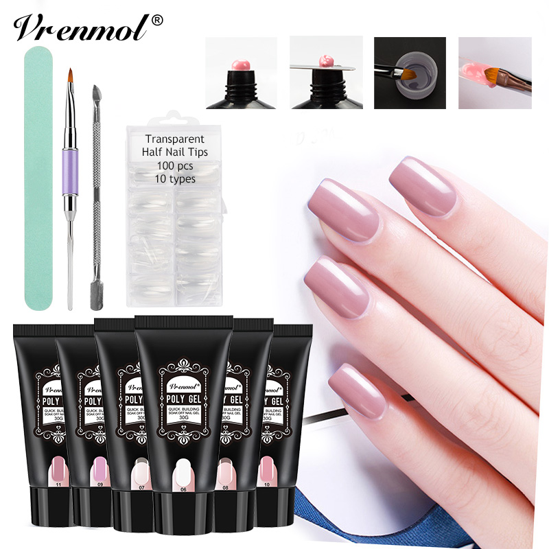 Vrenmol Nail Gel Kits Polygel Fast UV Builder Gel Nail Extend Nail Art Tips for Manicure Extension Nail Gel Polish 6 Colors Sets