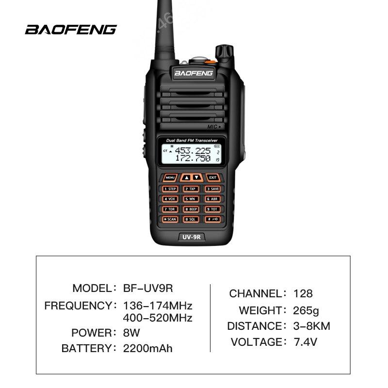 Image 2 - Baofeng Waterproof UV 9R talkie walkie 8W UHF/VHF walkie talkie range 5KM cb radio Dual Band Handheld UV9R Ham two way radio-in Walkie Talkie from Cellphones & Telecommunications