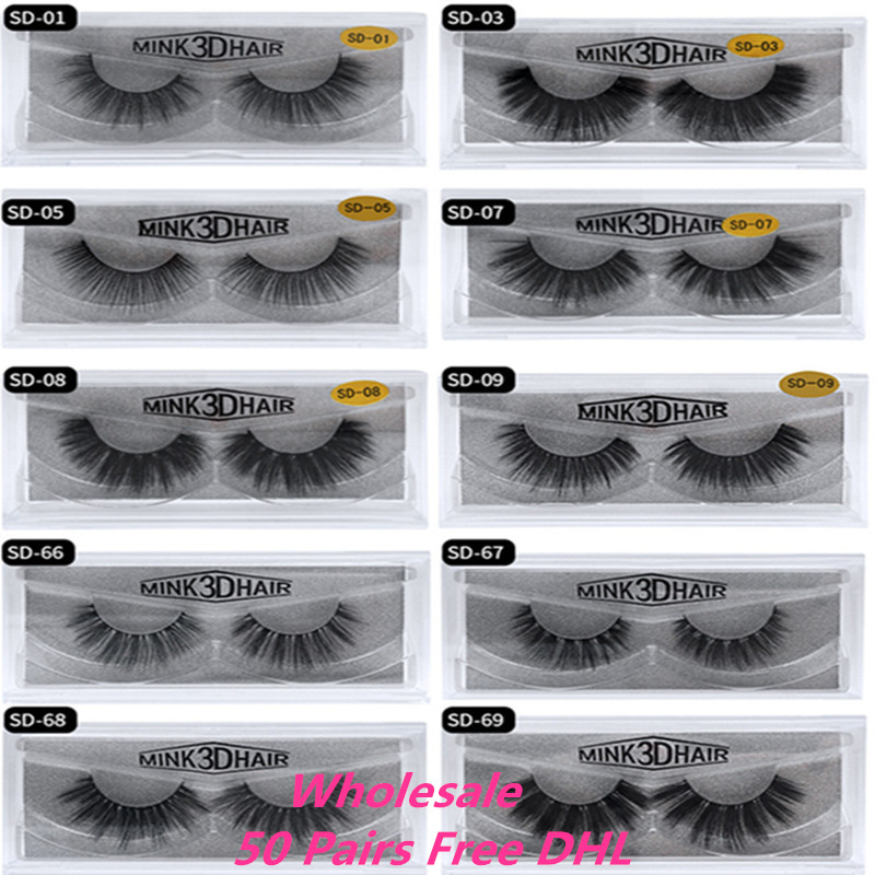 Wholesale Eyelashes 50Pairs 3D Mink Lashes Luxury Hand Made Mink Lash Long Lasting Volume Lashes Extension False Eyelashes Free
