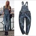 Мода весна 2016 кошачий коготь BF свободного покроя джинсовые нагрудник штаны широкий женщин подтяжк джинсы Strar же стиле джинсовые комбинезоны брюки