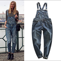 Fashion Spring 2016 Cat's Claw BF Casual Denim Bib Pants Loose Women's Suspender Jeans Strar Same Style Denim Overalls Trousers