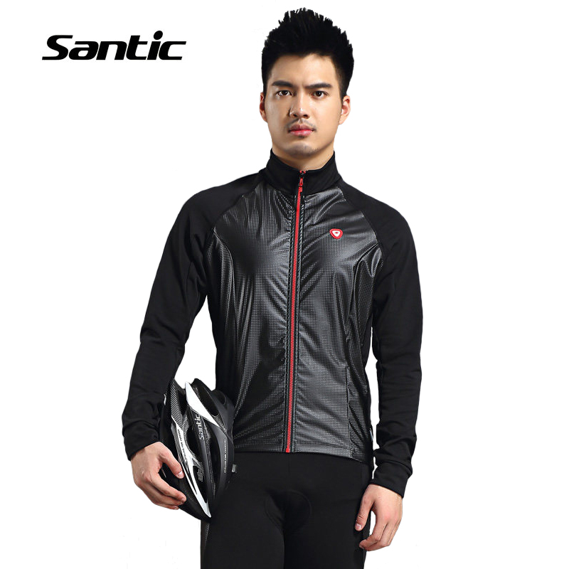 ФОТО Santic Thermal Fleece Cycling Jersey Windproof Warm Winter Coats For 8-16 Degrees Celsius Men's Cycling Jacket Roupa De Ciclismo