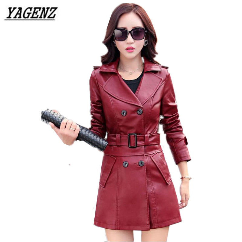 YAGENZ Spring Winter Ladies Slim   Leather   Jacket Coats 2017 Fashion Large Sizece Faux   Leather   Outerwear Waist Removable Clothing