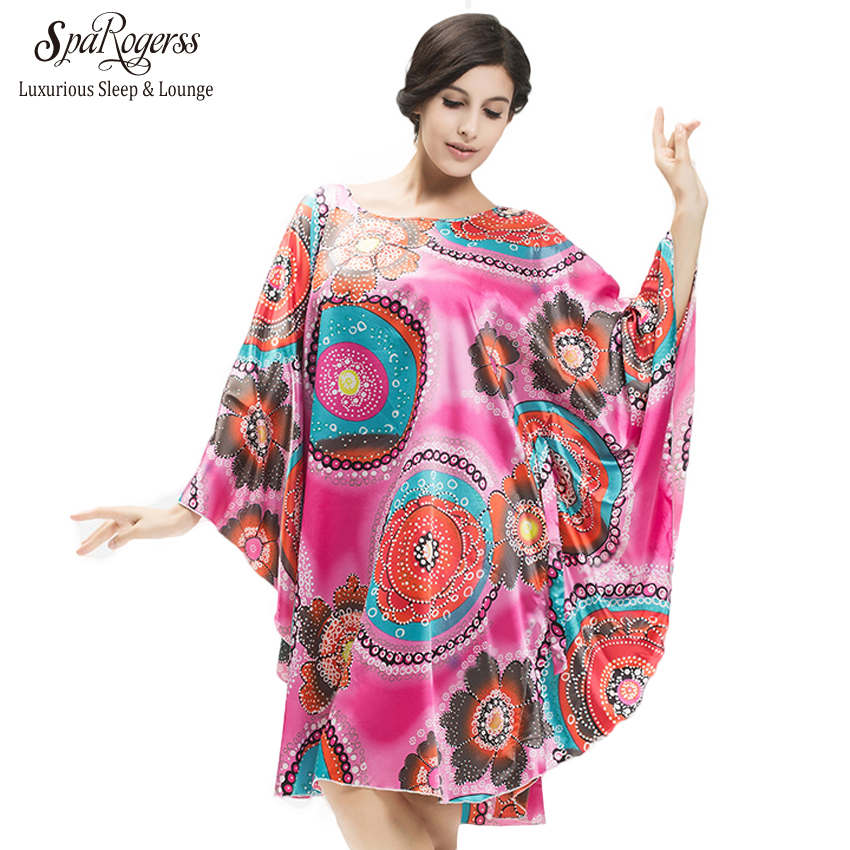 SpaRogerss Plus Size Women   Nightgowns   2018 Ladies   Sleepshirts   For Mothers Fashion Batwing Casual Home Summer Female Robes YT7795