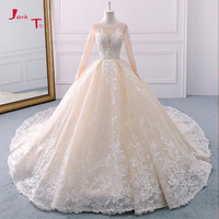 Jark Tozr 2018 New Arrive Full Sleeve Appliques Lace Gorgeous Princess Ball Gown Wedding Dresses With 1.5m Chapel Train Mariage