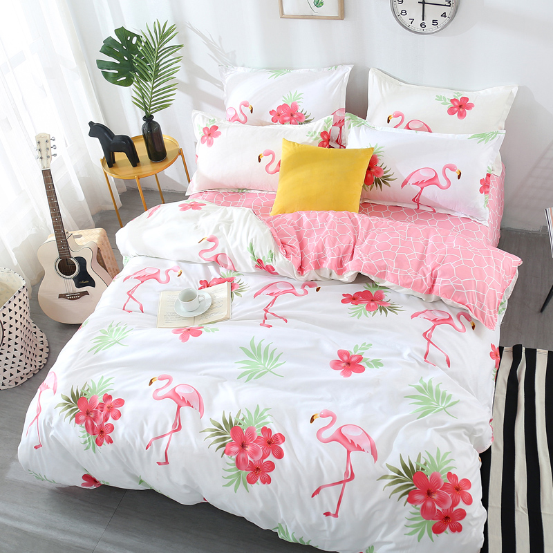 Flowers + flamingos Bedding Sets (Duvet Cover + Bed Flat Sheet + Pillow Case) Twin Full Queen King Size