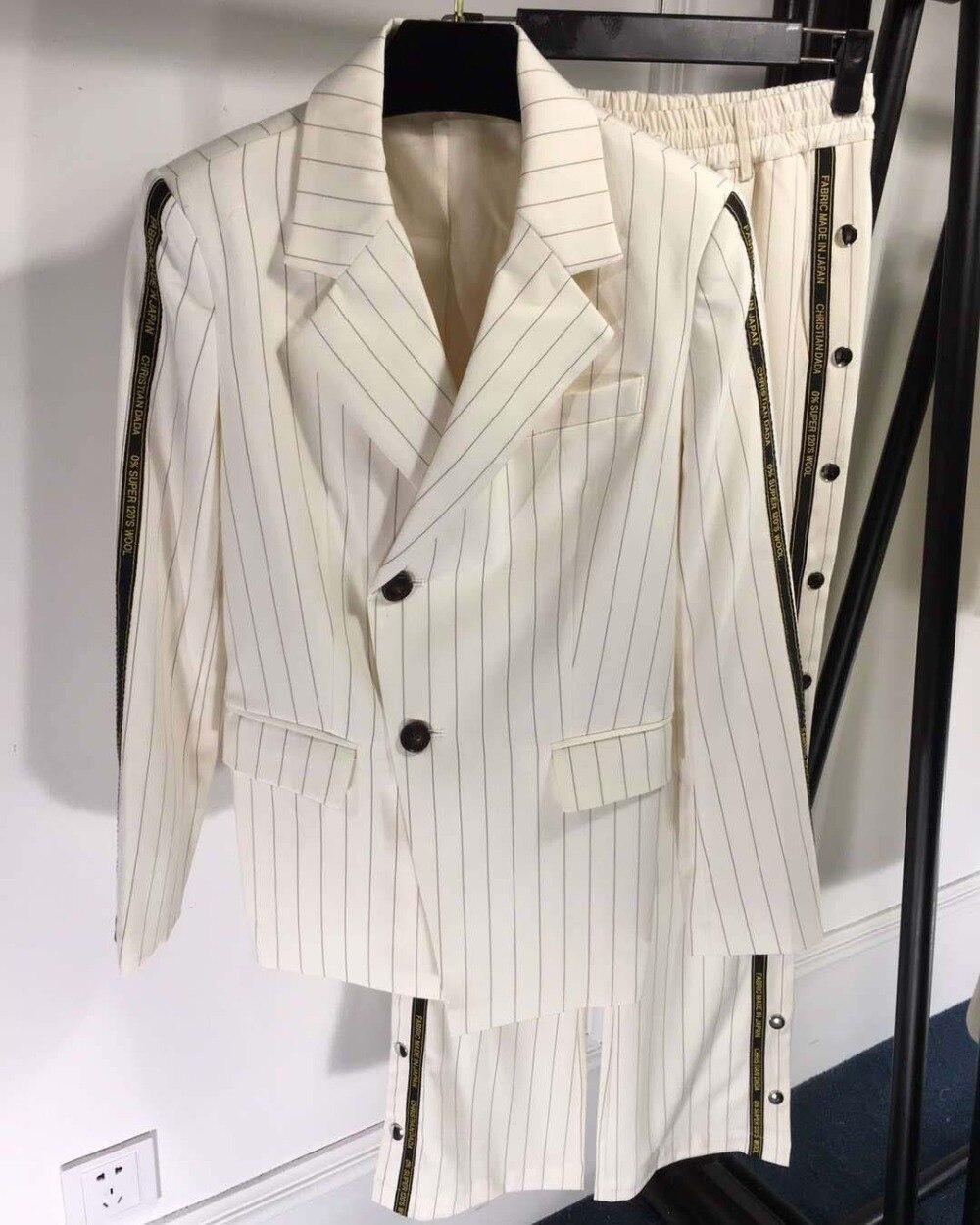 Women's Suits Pants Trouser-Kit Two-Piece-Set Stripe Fashion for Split-Design Unique