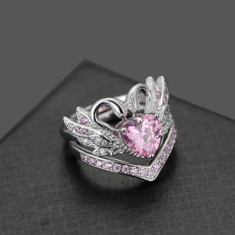 Vintage Swan Heart Ring 2
