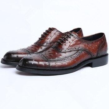 Fashion Black / Tan Social Shoes Men Business Shoes Genuine Leather Oxfords Prom Shoes Man Wedding Shoes