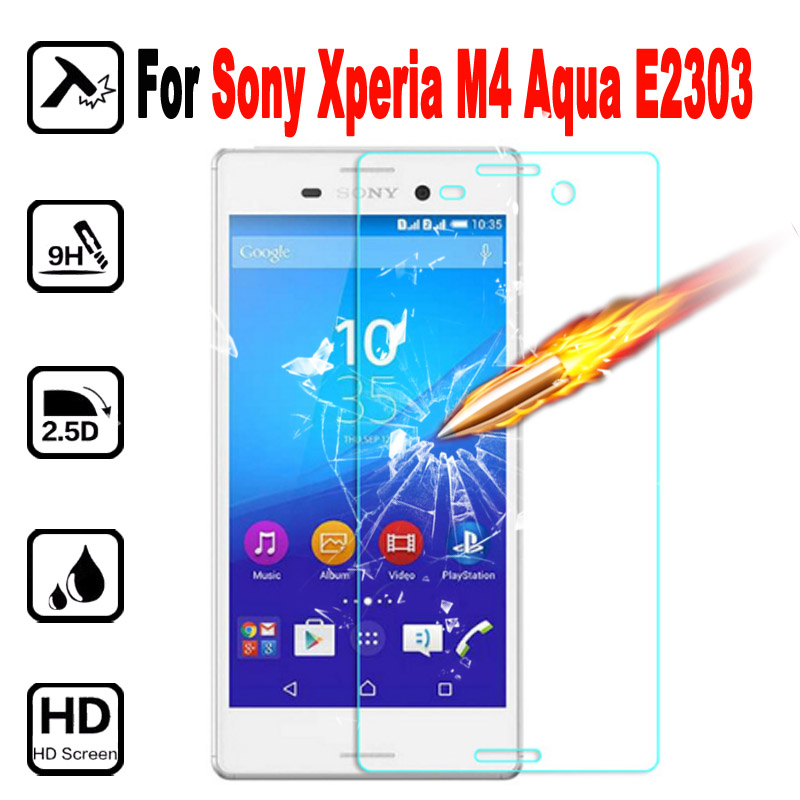 M4 Premium Tempered Glass Phone Protective Film For SONY Xperia M4 Aqua E2303 E2353 Screen Protector with Clean Tool