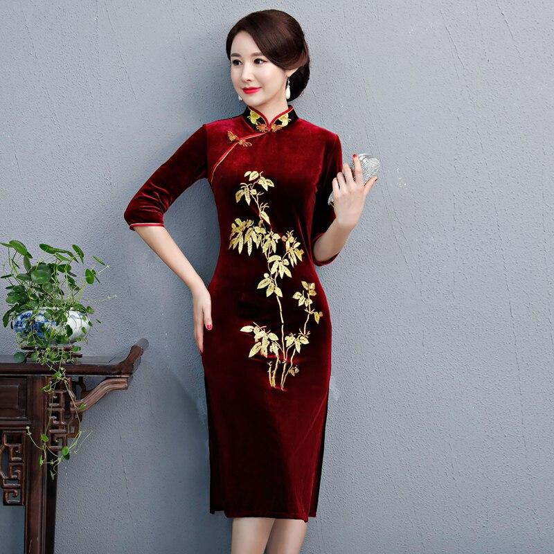 Kadın Giyim'ten Elbiseler'de 2018 Yeni Uzun Cheongsam Moda Çin tarzı Orta Uzunlukta Elbise Bayan Kadife Qipao Ince Parti Elbiseler Bahar Bayan Vestido'da  Grup 1