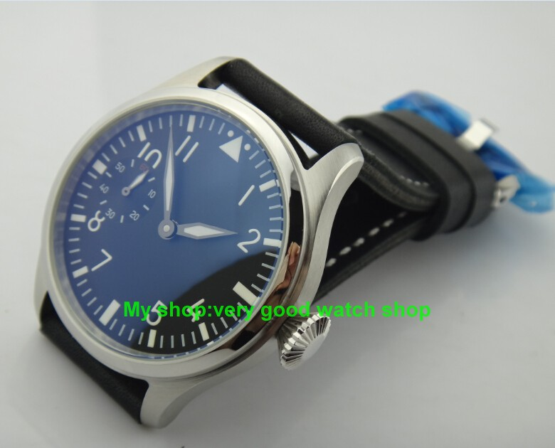 47mm Big dial PARNIS pilot 6497/3600 Winding Movement Black Dial Wrist Watch High quality luminous men watches 119