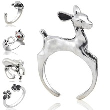 цена на Simple Leaf Animal Opening Rings For Women Party Elegant Fashion Jewelry Accessories Alloy Finger Ring