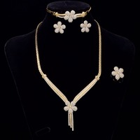 Jewelry Sets Gold Necklace Earrings Ring Set Fashion Flower Wedding Engagement Jewerly 4 Pieces Set For