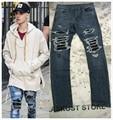 Azul/Negro Cuero de LA PU Mezcla Capa Vaqueros Justin Bieber Style Ripped Apenada Patchwork Flaco Fit Biker Denim Pantalones
