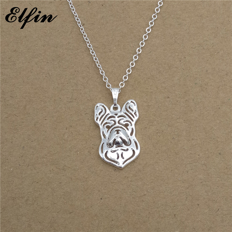 Elfin Wholesale 2017 Trendy French Bulldog Necklace Gold Color Silver Color Dog Jewellery Pendant Necklace Women steampunk