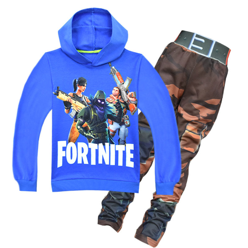 4-14T Teenager Autumn Spring Clothes Set Pullover Hoodies Sweatshirts + Pants Game Fortnite Printed Boys Girls Kids Clothes Suit