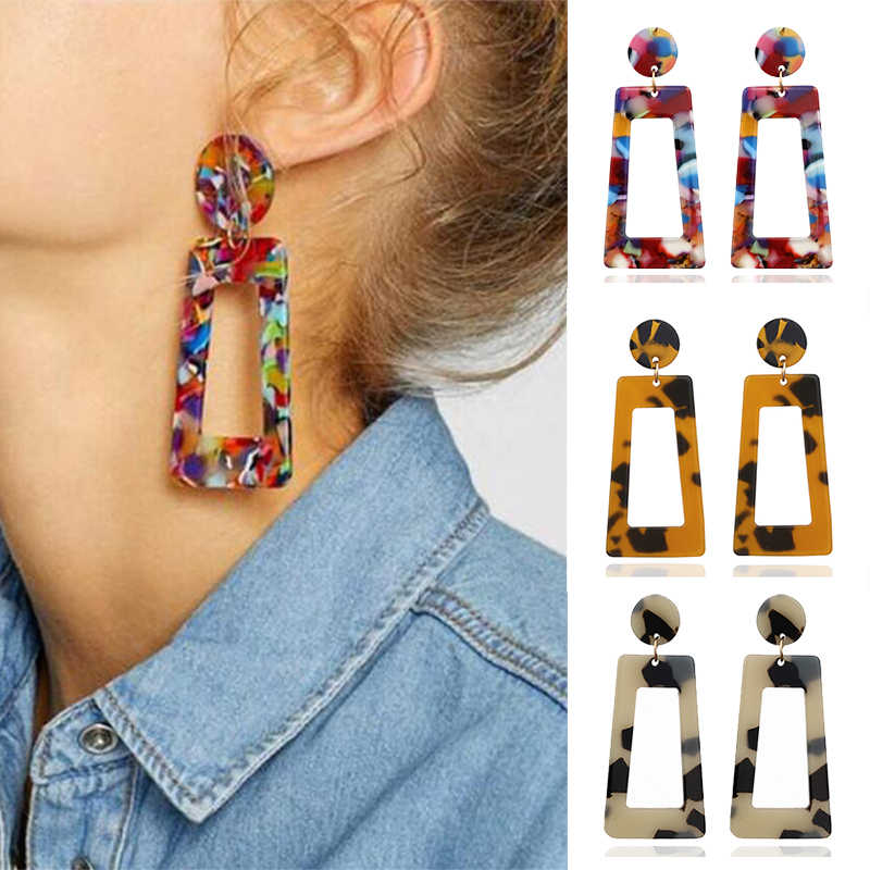 Fashion Big Acetic acid Drop Earrings For Women 2019 Resin Large Square Earrings Trendy Geometric Acrylic Jewelry Accessories