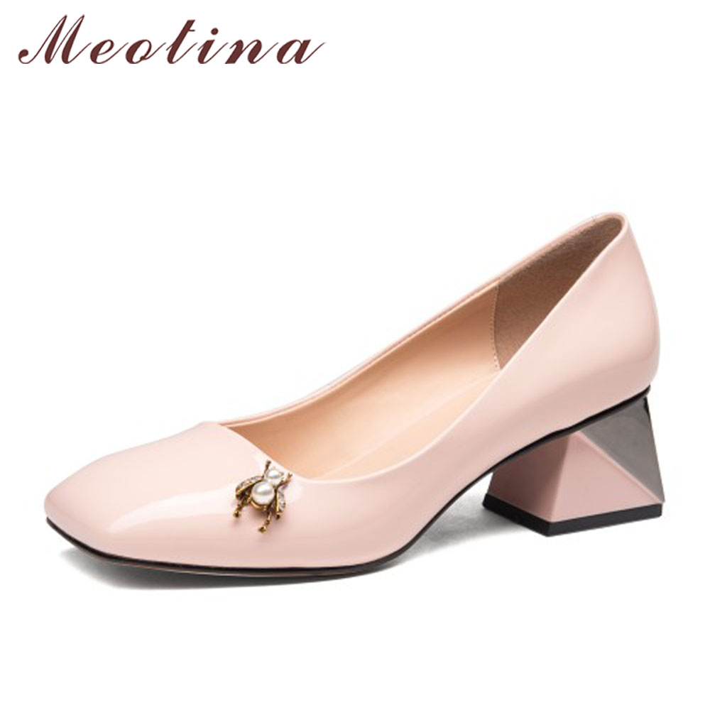 Meotina Women Pumps Real Leather Shoes Bee Chunky Heels Crystal High Heels Natural Patent Leather Dress Shoe Spring Black Pink high quality 100% natural pure sweet honey bee honey